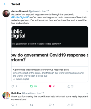 screen grab showing a response to james' tweet about the work. reply says: thank you for sharing this work! it can help kick start some really important conversations!