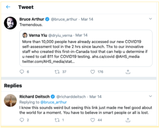 Twitter exchange about Alberta's covid19 self assessment tool
