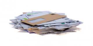 Stock image showing a pile of unopened brown and white envelopes, emblematic of bureaucracy
